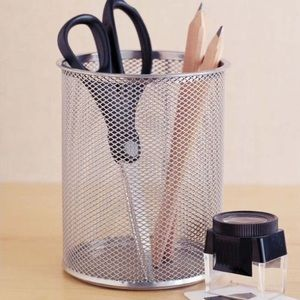 Large Round Silver Mesh Pencil Holder Cup
